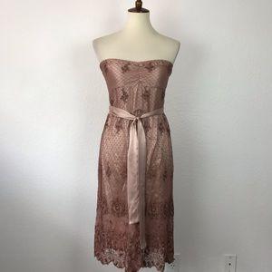Hale Bob Silk Belted Lace Strapless Dress